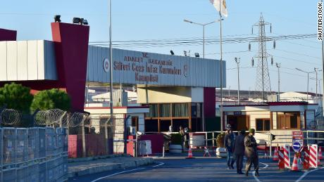 Silivri Prison's main entrance gate where a man arrested on suspicion of spying for the United Arab Emirates in Turkey allegedly died by suicide.