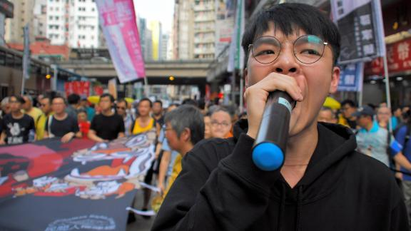Protesters take part in a protest against the proposed extradition law on April 28, 2019 in Hong Kong.