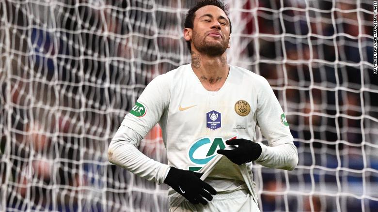 Paris Saint-Germain's Brazilian forward Neymar reacts after missing a shot on goal  during the French Cup final on Saturday at the Stade de France in Saint-Denis, outside Paris.