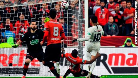 Neymar scores during the final against Rennes.