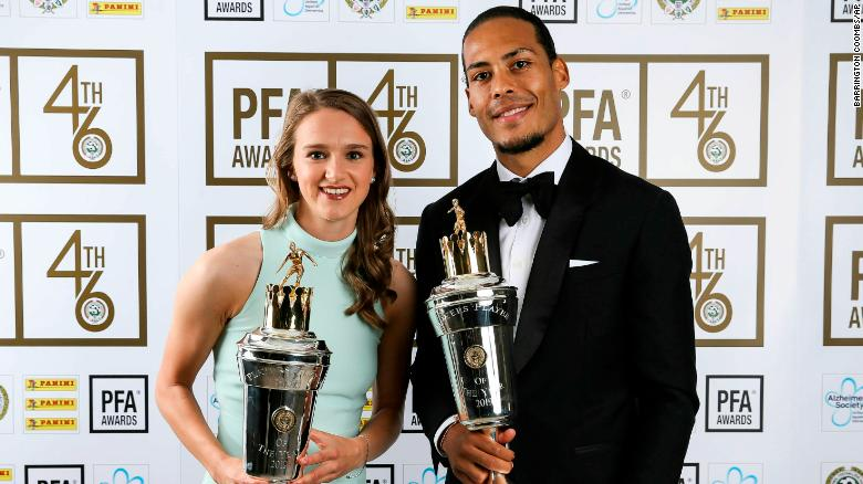 Virgil van Dijk and Vivianne Miedema completed a Dutch double at the PFA Awards