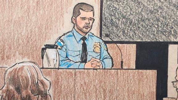 Minneapolis police officer Matthew Harrity, center, as he testified on April 18 in Mohamed Noor's murder trial.