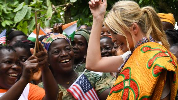 Ivanka Trump meets with women from cocoa cooperative farms near Adzope in Cote d'Ivoire.