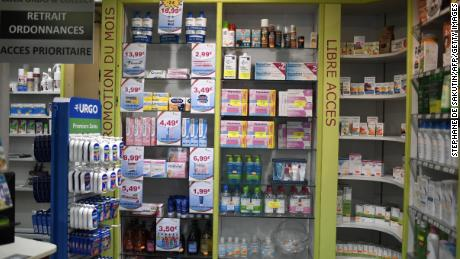 Display at a pharmacy in Paris.