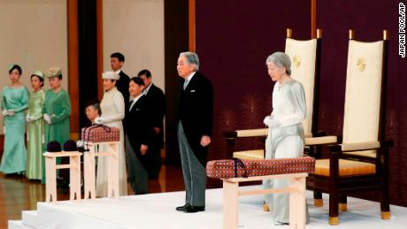 Japan's Emperor Akihito, second from right, accompanied by Empress Michiko, attends the ceremony of his abdication in front of other members of the royal families and top government officials at the Imperial Palace in Tokyo, Tuesday, April 30, 2019. The 85-year-old Akihito ends his three-decade reign on Tuesday as his son Crown Prince Naruhito will ascend the Chrysanthemum throne on Wednesday. (Japan Pool via AP)