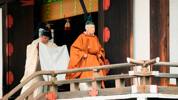 Akihito on the day of his abdication.