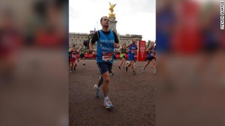 Steven Quayle injured himself stepping on a water bottle but still somehow finished the race.