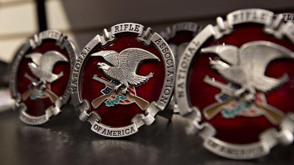 A National Rifle Association (NRA) logo hitch cover sits on display ahead of the NRA annual meeting in Dallas, Texas, U.S., on Thursday, May 3, 2018. When the NRA holds its annual meeting this weekend, the gathering will provide a window into the organization's message and strategy ahead of this year's midterm elections. Photographer: Daniel Acker/Bloomberg via Getty Images