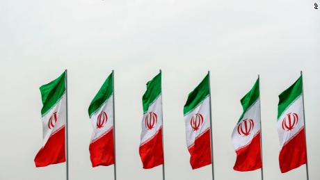 Iranian flags flying during National Army Day in front of the shrine of the late revolutionary founder Ayatollah Khomeini, just outside Tehran on April 18.