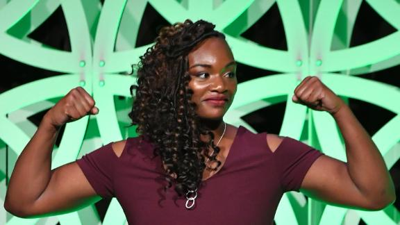 Claressa Shields speaks onstage at The Women's Sports Foundation's 39th Annual Salute To Women In Sports And The Girls They Inspire Awards Gala  in October 2018.