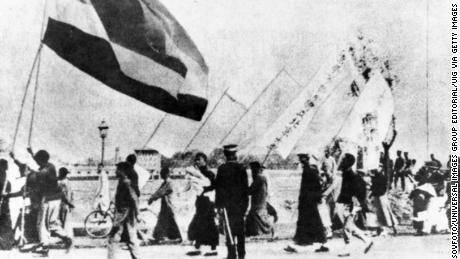 Students of Peking University marching with banners during the May Fourth demonstrations in 1919.