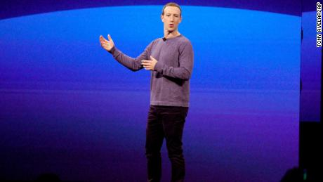 Facebook CEO Mark Zuckerberg gives the keynote speech at F8, the company's annual developer conference.