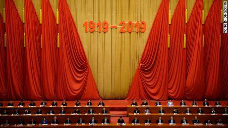 President Xi Jinping (center) ahead of a speech marking the 100th anniversary of May 4th Movement at Great Hall of the People in Beijing.