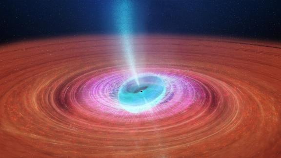Wobbling black hole spewing jets of plasma distorts spacetime