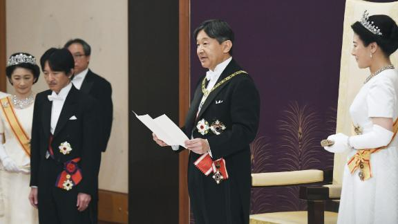 """Naruhito delivers his first speech after his ascension to the throne. In his remarks, he acknowledged the assumption of his role as an """"important responsibility,"""" and he paid tribute to his father's legacy."""