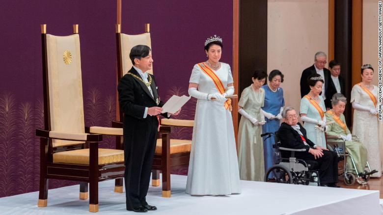 In this handout image provided by Imperial Household Agency, New Japanese Emperor Naruhito delivers his first speech after ascending the throne during the enthronement ceremony at the Imperial Palace on May 1, 2019 in Tokyo, Japan.