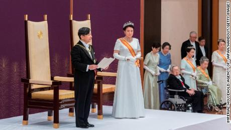 In this handout image of Imperial Household Agency, new Japanese emperor Naruhito gives his first speech after the accession to the throne during the accession to the Imperial Palace on May 1, 2019 in Tokyo, Japan.