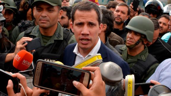 Surrounded by soldiers, Guaidó called for a military uprising against Maduro outside the airforce base La Carlota on April 30.