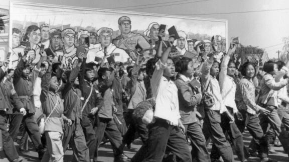Red Guards, high school and university students, waving copies of Chairman Mao Zedong