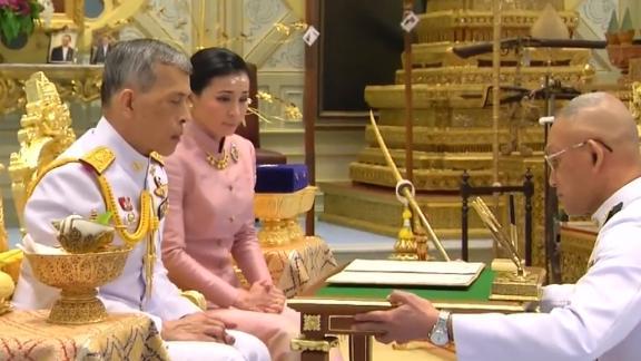 An image from Thai TV pool video on Wednesday showing the wedding ceremony of King Maha Vajiralongkorn Bodindradebayavarangkun to Suthida Vajiralongkorn Na Aydhaya in Bangkok.