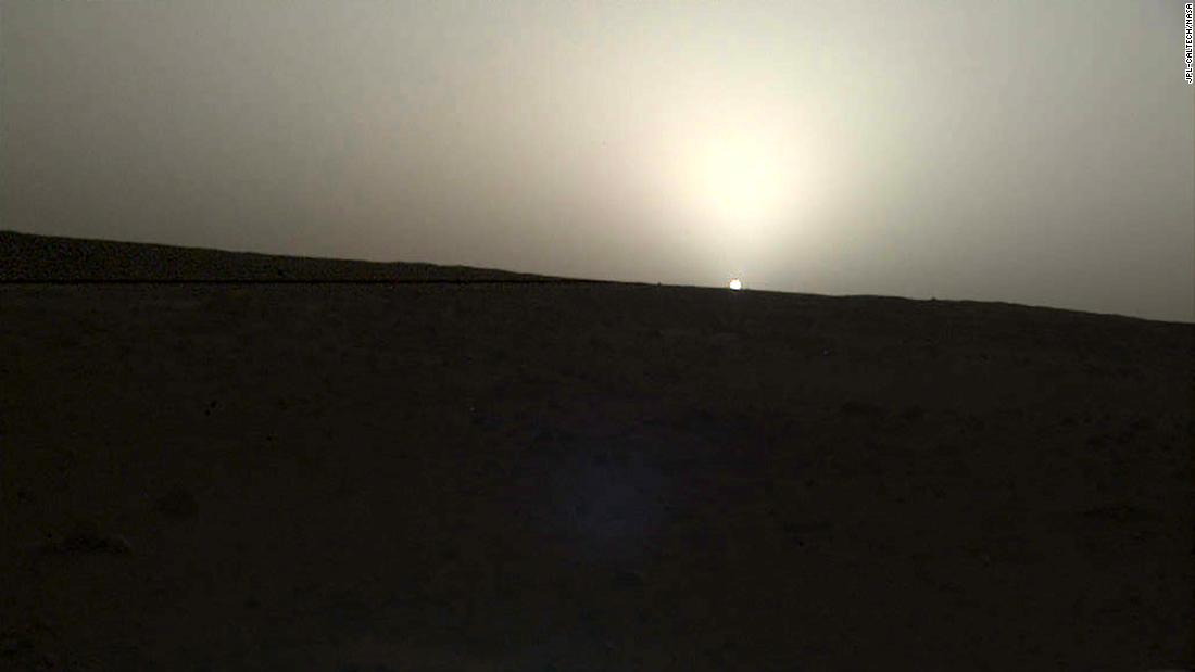NASA's InSight lander used a camera on its robotic arm to capture this sunset on Mars on April 25.