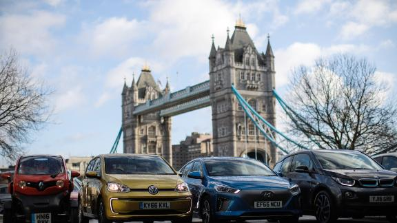 LONDON, ENGLAND - FEBRUARY 23: Alternatively-fuelled vehicles including hybrid, plug-in hybrid, electric and hydrogen cars are displayed during a photocall by the Society Of Motor Manufacturers in Potters Field on February 23, 2017 in London, England. In a bid to reduce pollution older, more polluting cars will be subject to a £10 T-Charge for entering the congestion charge zone in London from October 23. (Photo by Jack Taylor/Getty Images)