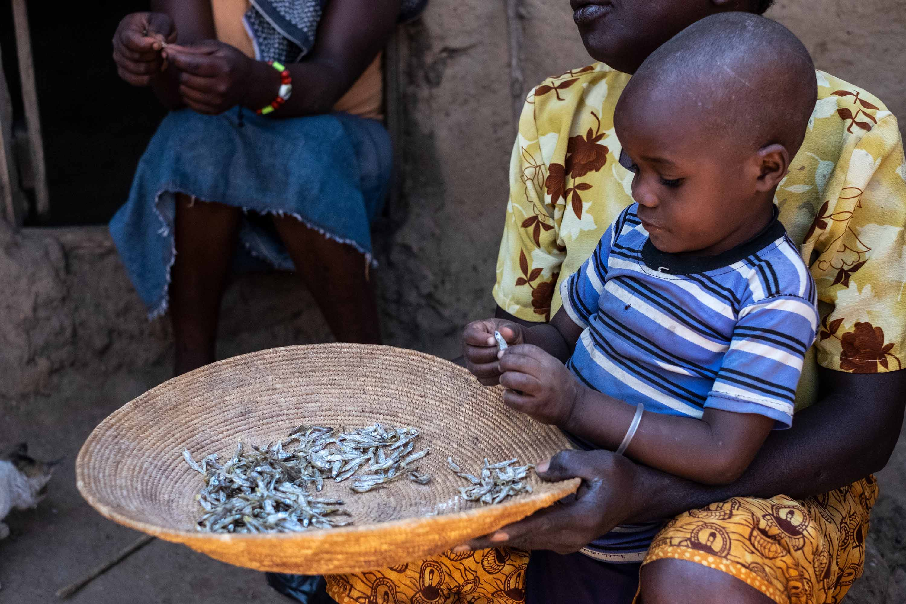 Christina Wambura, 64, and her son parsing dried fish in their backyard.
