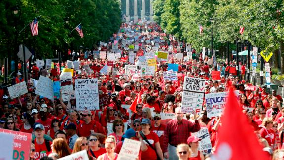 Thousands of North Carolina teachers and other school employees march in Raleigh on Wednesday.