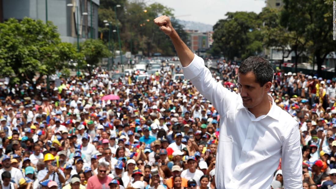 Guaido, who has been recognized by many countries as Venezuela's interim president, speaks during a rally in Caracas on May 1.