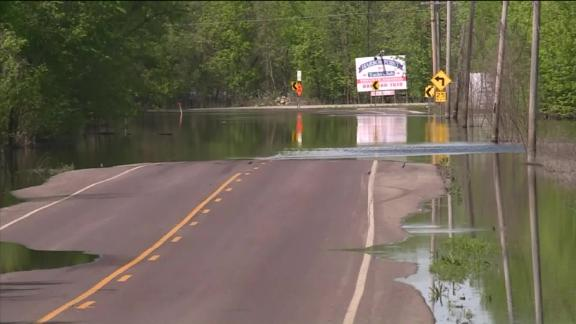 Flooding in Missouri threatens to submerge roads.