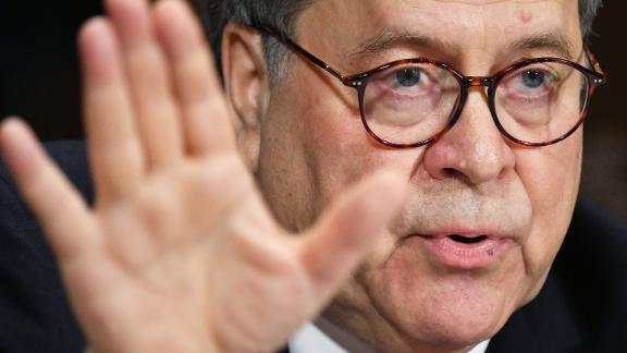 """US Attorney General William Barr testifies before the Senate Judiciary Committee on """"The Justice Department's Investigation of Russian Interference with the 2016 Presidential Election"""" on Capitol Hill in Washington, DC, on May 1,2019. (Photo by MANDEL NGAN / AFP)        (Photo credit should read MANDEL NGAN/AFP/Getty Images)"""