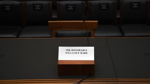 The seat for US Attorney General Bill Barr at the House Judiciary Committe room on Capitol Hill in Washingotn, DC, on May 2, 2019. - Barr has refused to testify before the committee hearing on his handling of the Mueller report, setting up a showdown that could see Democrats take legal steps to compel his appearance. Committee chairman Jerry Nadler said Barr had also refused to supply the panel with a full and unredacted copy of Special Counsel Robert Mueller's report on Russian meddling in the 2016 election and possible obstruction by President Donald Trump. (Photo by Jim WATSON / AFP)        (Photo credit should read JIM WATSON/AFP/Getty Images)