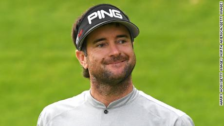 PACIFIC PALISADES, CALIFORNIA - FEBRUARY 14: Bubba Watson reacts to a putt for par on the 18th hole during the first round of the Genesis Open at Riviera Country Club on February 14, 2019 in Pacific Palisades, California. (Photo by Harry How/Getty Images)
