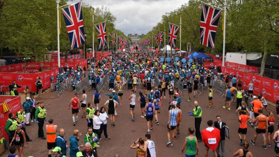 Athletes recover after running the 2019 London Marathon last month.