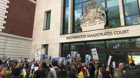 Supporters outside Westminster Magistrates