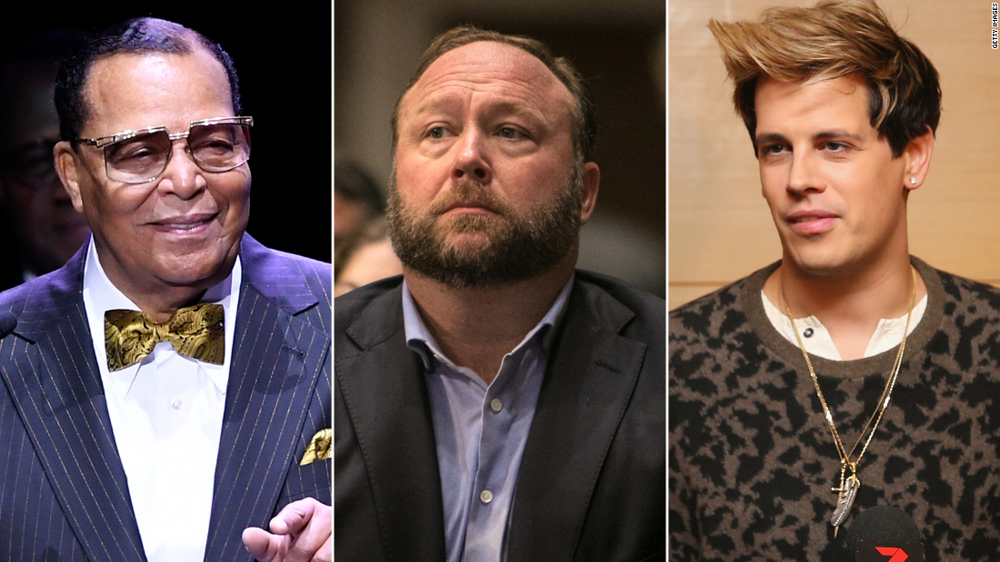 Facebook bans Louis Farrakhan, Milo Yiannopoulos, InfoWars and others from its platforms as 'dangerous'