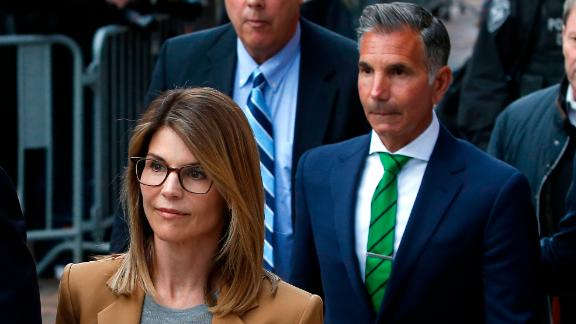Lori Loughlin at an April court hearing. (Photo by Jessica Rinaldi/The Boston Globe via Getty Images)