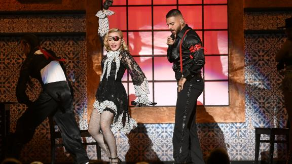 Madonna, left, and Maluma perform during the 2019 Billboard Music Awards on May 1 in Las Vegas.
