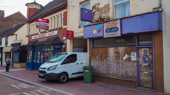 """""""To let"""" signs adorn many of the shops on the high street in Willenhall."""