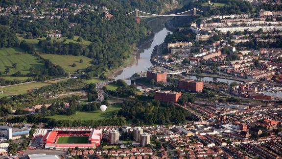 Overlooking the city of Bristol and the Clifton Suspension Bridge.
