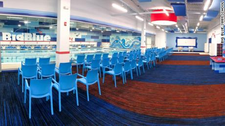 Big Blue Swim School facilities feature pools with water temperature set to 90 degrees, anti-microbial carpeting and an air-conditioned viewing area for parents with free W-Fi.