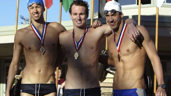 Aaron Peirsol (center), Michael Phelps (right) and Chris DeJong (left), on the podium of the Men