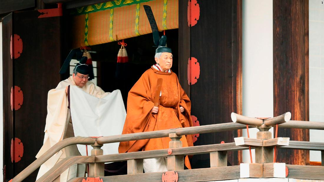 "Japan's Emperor Akihito, right, departs from a ritual where he reported <a href=""http://www.cnn.com/2019/04/30/asia/gallery/akihito-abdicates/index.html"" target=""_blank"">his abdication</a> on Tuesday, April 30. <a href=""http://www.cnn.com/2019/04/29/asia/gallery/emperor-akihito/index.html"" target=""_blank"">Akihito,</a> 85, is the first Japanese monarch in 200 years to abdicate his post. He has cited health reasons for standing down. <a href=""http://www.cnn.com/2019/04/29/asia/gallery/naruhito/index.html"" target=""_blank"">His son Naruhito</a> has taken over his role. <a href=""http://www.cnn.com/2019/04/30/asia/gallery/reaction-japan-akihito/index.html"" target=""_blank"">An end of an era: Japan reflects on Akihito</a>"