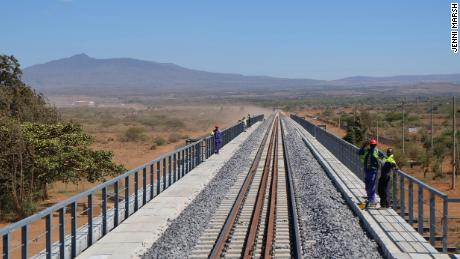 The Chinese-built railway line stretches from Mombasa to Nairobi. Pictured is an unopened section of line near Naivasha.