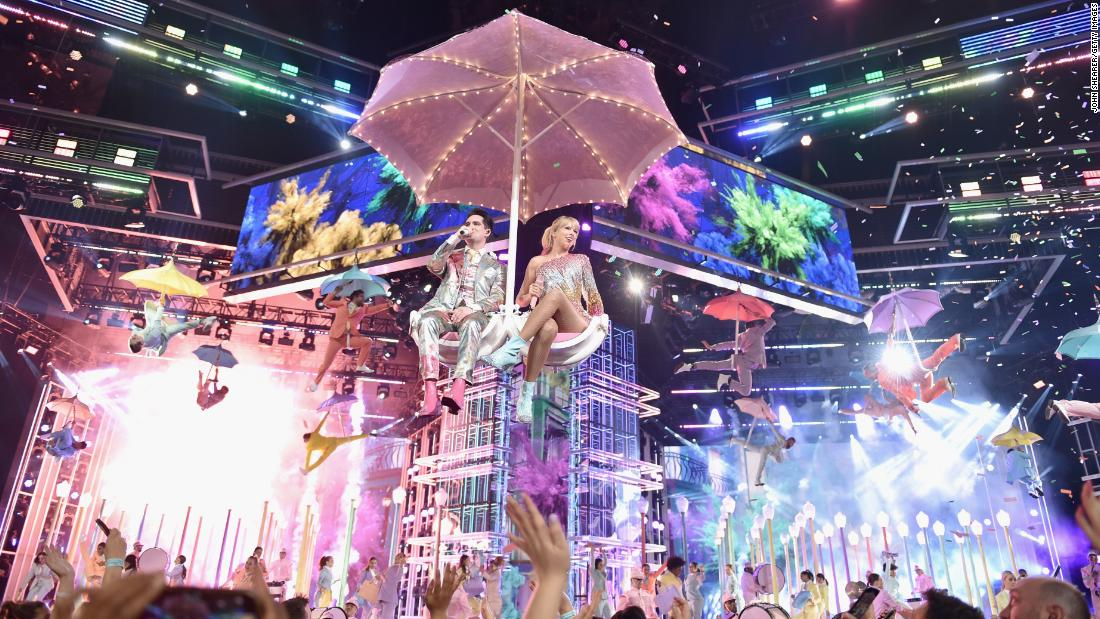 "Brandon Urie and Taylor Swift perform at the Billboard Music Awards on Wednesday, May 1. As Swift sang her new single ""ME!,"" <a href=""https://www.cnn.com/2019/05/02/entertainment/taylor-swift-billboard-music-awards-performance-beyonce/index.html"" target=""_blank"">some on social media pointed out</a> that it looked a lot like Beyonce's iconic show at Coachella last year."