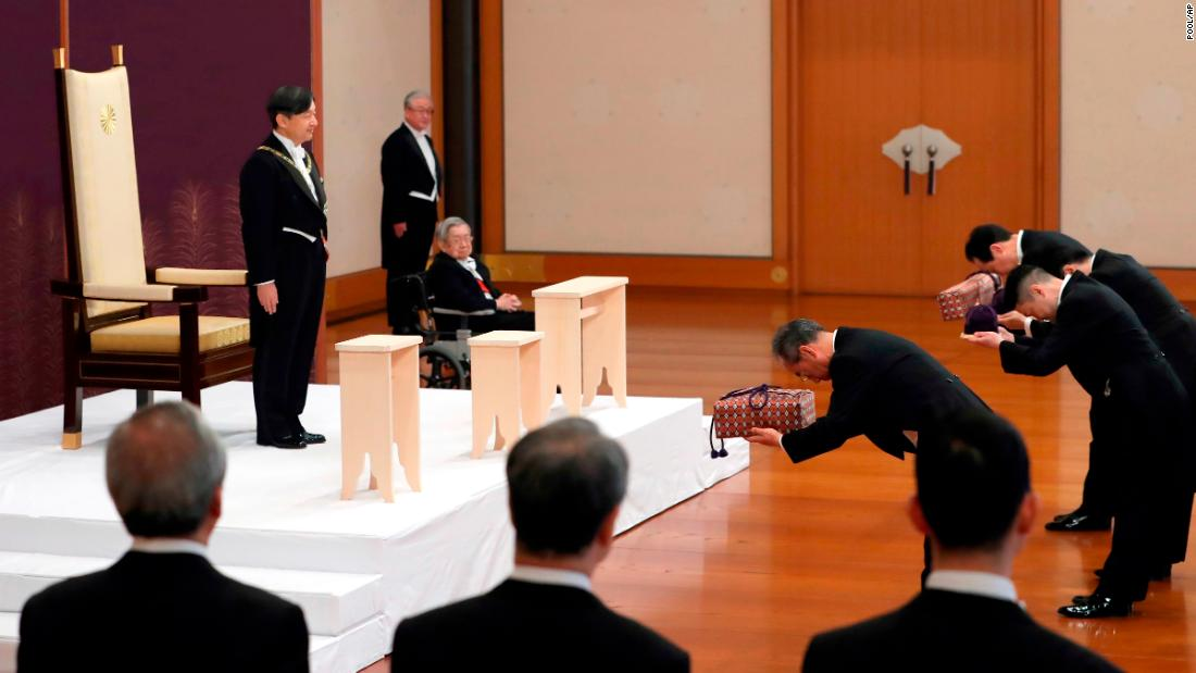"<a href=""http://www.cnn.com/2019/04/29/asia/gallery/naruhito/index.html"" target=""_blank"">Naruhito,</a> Japan's new Emperor, receives the imperial regalia after <a href=""http://www.cnn.com/2019/05/01/asia/gallery/naruhitos-ascension/index.html"" target=""_blank"">ascending to the throne</a> on Wednesday, May 1. He was replacing his father, Akihito, who abdicated a day earlier."
