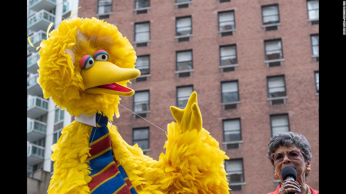 """Sesame Street"" character Big Bird attends a ceremony in New York City on Wednesday, May 1. A block of Manhattan's Upper West Side was designated as Sesame Street in commemoration of the show's 50th anniversary."