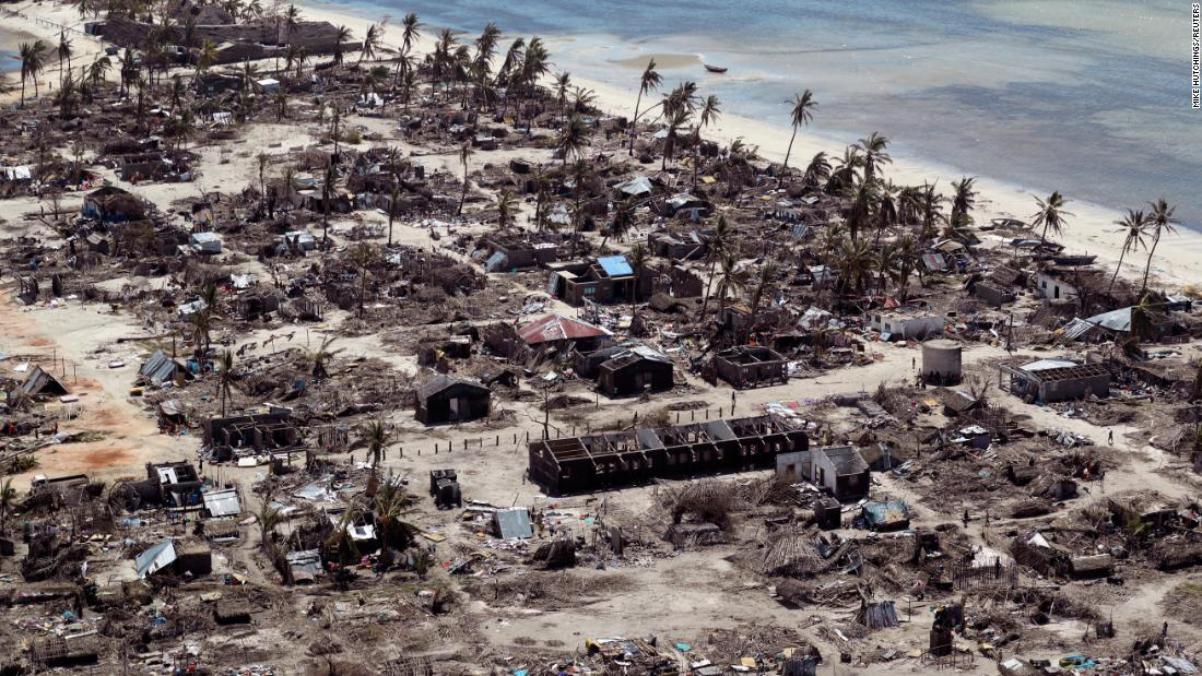 "This aerial photo, taken on Wednesday, May 1, shows buildings in Pemba, Mozambique, that were <a href=""https://www.cnn.com/2019/04/29/africa/mozambique-cyclone-kenneth-intl/index.html"" target=""_blank"">damaged by Cyclone Kenneth.</a> Kenneth is the second powerful storm to hit southeast Africa in five weeks."