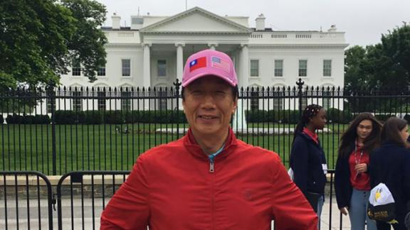 Terry Gou stands in front of the White House in Washington.