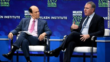 Michael Milken, head of the Milken Institute, and billionaire hedge found Ken Griffin talks about the future of capitalism at the annual Milken Institute Global Conference on April 29.